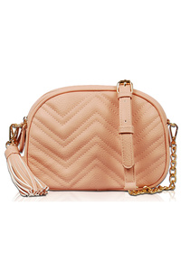 Solid Zigzag Quilted Messenger Bag With Chain Strap