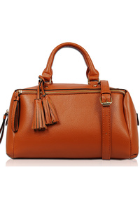 Solid Double Handle Satchel Bag With Strap