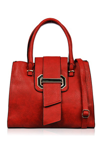 Solid Flap Over Slip On Closure With Double Satchel Bag