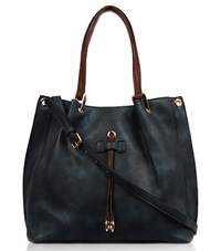Solid Center Double Strap Accented Tote With Strap
