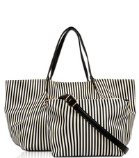 Stripe Print Two In One Tote And Messenger