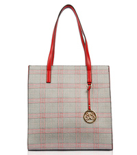 Checker Print Tote Bag With Double Handle Bag
