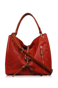Solid Center Ring Front Zipper Pocket Tote Bag With Strap