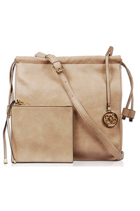 Solid Stitched Edge Front Zipper Messenger Style Tote Bag