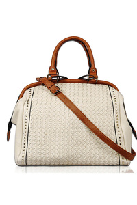 Solid Textured With Studs Double Handle Satchel Bag