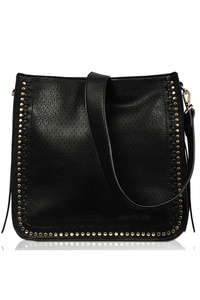 Solid Studs And Textured Tote Bag With Strap