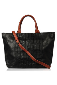 Solid Stripe Textured Tote Bag With Shoulder Strap