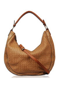 Solid Stitched And Studded Hobo Bag With Single Handle