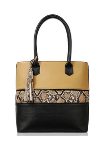 Sold & Animal Print With Tassel Tote Bag