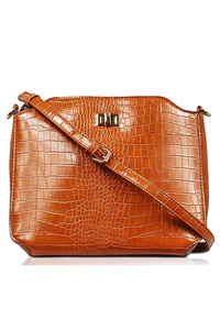 Solid Two In One Croco Messenger And Pouch Bag