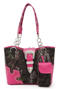 Camouflage Print Center Belt Accented Double Handle Tote Bag