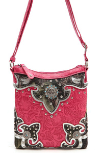 Western Cowgirl Symbolic Accented Rhinestone And Studs Messenger Bag