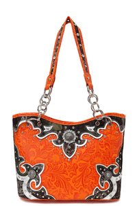 Western Cowgirl Symbolic Rhinestones Accented Bucket Tote Bag