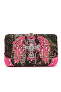Western Cowgirl Camouflage Cross And Wing Accented Hard Case Wallet
