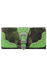 Camouflage Print Belt Buckle Deco Tri-fold Wallet