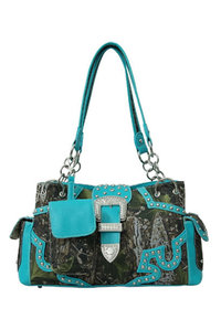 Western Style Camouflage Belt Deco Two Side Pocket Satchel Bag with Cell Phone Pocket Detachable