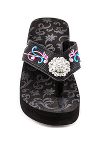 Western Flower And Embroidery Accented Rhinestones Flip Flop