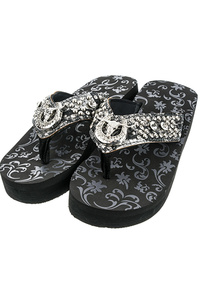 Western Bull And Horse Shoe Inspired Rhinestones Flip Flop