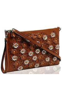 Solid 3D Flower Clutch With Shoulder And Wrist Strap