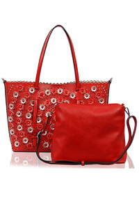 Two In One Laser Cut Flower Pattern Tote And Messenger Bag