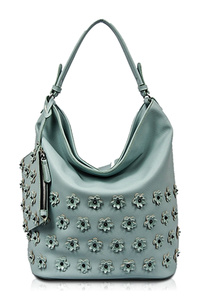 Solid 3D Flower Hobo With Attached Pouch Single Handle Bag