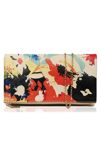 Art Paint Inspired Flap Over Clutch With Chain Strap