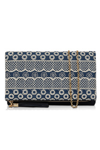 Lace Covered Trim Flap Over Clutch With Chain Strap