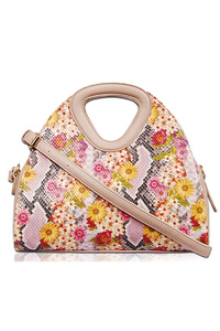 Flower Print On Snake Skin Textured Satchel Bag With Strap