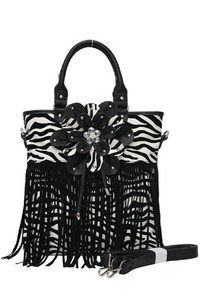 Zebra Printed Center Flower and Fringe Deco with Shoulder Strap Tote Bag