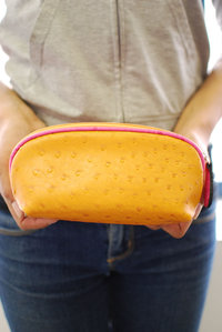 Ostrich Cosmetic Bag with Wrist Strap Detachable