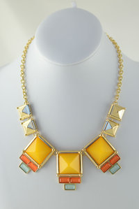Square Stones Deco Necklace and  Earring Set Pre-pack 3 Pcs