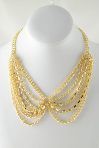 Gold Chain and Rhinestones Deco Necklace and  Earring Set Pre-pack 3 Pcs