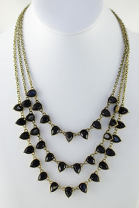 Drop Bead Stone Layered Deco Necklace and Earring Set