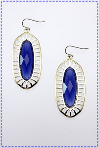 Oval Shaped Colorful Gem Stoned Earrings