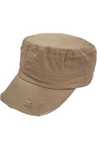 Cotton Twill Washed Military Cap with Distressed Visor