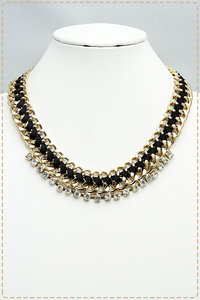 Gold Chain Center Black Color with Rhinestone Centered Placement Necklace