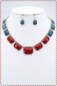 Solid Rectangular Shaped Chained Placement Necklace and Earring Set