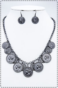 Ancient Hem Coin Chained Placement Necklace Set
