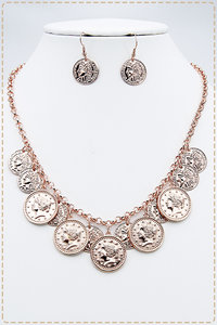 Ancient RG Coin Chained Placement Necklace Set