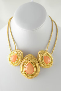 Three Big Stones with Chain Flap Design Necklace and  Earring Set