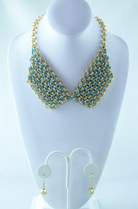Gold Chain Interlaced Trim Deco Necklace and  Earring Set