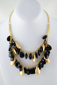 Tear Drop Chain Deco Necklace and Earring Set