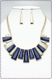 Egypian Styles Stones with Metal Combined Necklace Set