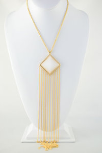 Square Medal with Long Tassle Deco Necklace and Earring Set Pre-pack 3 Pcs