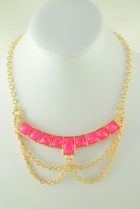 Crescent Chain  Deco Necklace and Earring Set