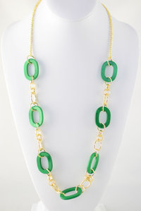Long Chain Deco Necklace and Earring Set