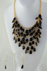Bead Deco Neckless and Earring Set