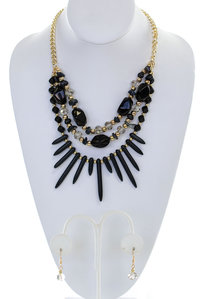 Multi Layered Stone Necklace Set