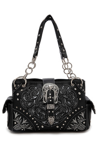 Belt Clip And Laser Cut Accented Double Pockets Satchel Bag