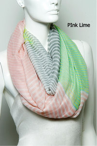 Fashion Trend Stripe Infinity Scarf Pre-Pack 6 pcs Even Color